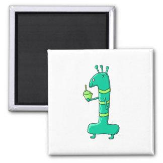 1st Birthday Cartoon. Green. Fridge Magnets