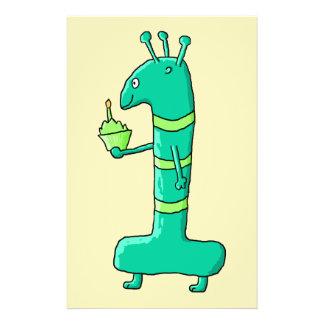1st Birthday Cartoon. Green. Personalized Flyer