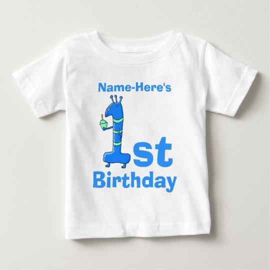 1st birthday cartoon, in blue. Custom Name. Baby