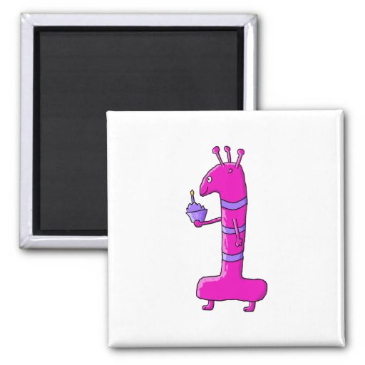 1st Birthday Cartoon. Pink Birthday Monster. Fridge Magnets
