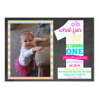 1st Birthday Chalkboard Invitation