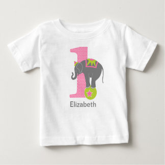 1st Birthday Circus Elephant Pink Baby T-Shirt