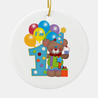 1st Birthday Clown Bear Double-Sided Ceramic Round Christmas Ornament
