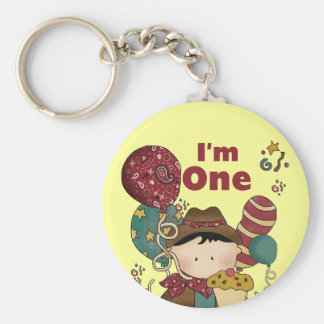 1st Birthday Cowboy Tshirts and Gifts Basic Round Button Key Ring