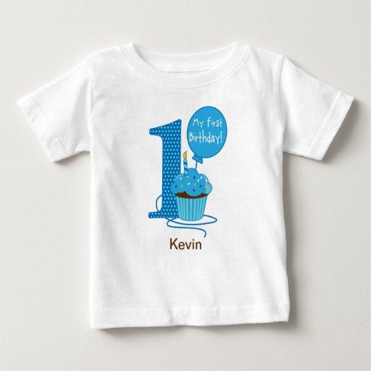 1st Birthday Cupcake Blue Baby T-Shirt