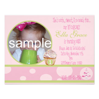 1st Birthday Cupcake Invitation - pink green