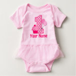 1st Birthday Cupcake Pink Personalised Baby Bodysuit
