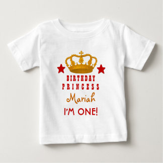 1st Birthday Custom Name Crown and Stars W03E Baby T-Shirt