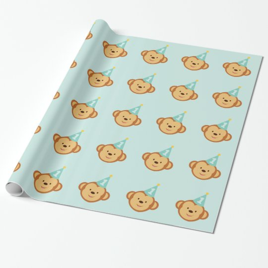 1st Birthday Cute Monkey Wrapping Paper