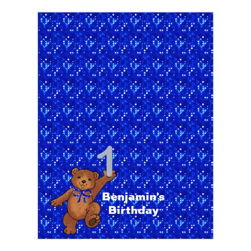 1st Birthday Dancing Bear Scrapbook Paper 3 Custom Flyer