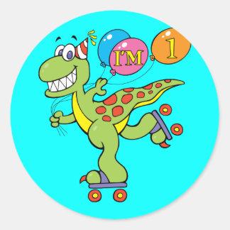 1st Birthday Dinosaur Round Sticker
