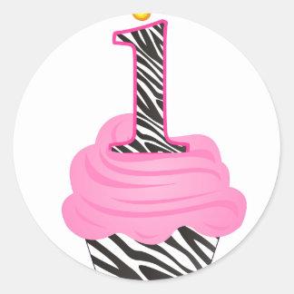 1st Birthday Diva Cupcake Round Sticker