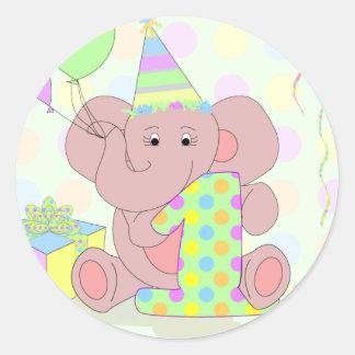 1st Birthday Elephant Sticker for Boys