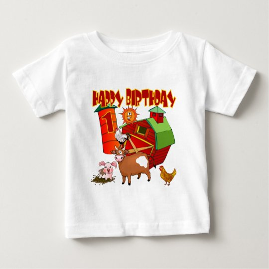 1st Birthday Farm Birthday Baby T-Shirt