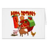 1st Birthday Farm Birthday Greeting Card