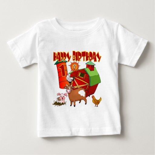 1st Birthday Farm Birthday Tshirt