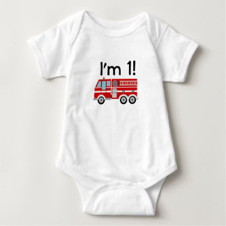 1st Birthday Fire Engine Baby Bodysuit