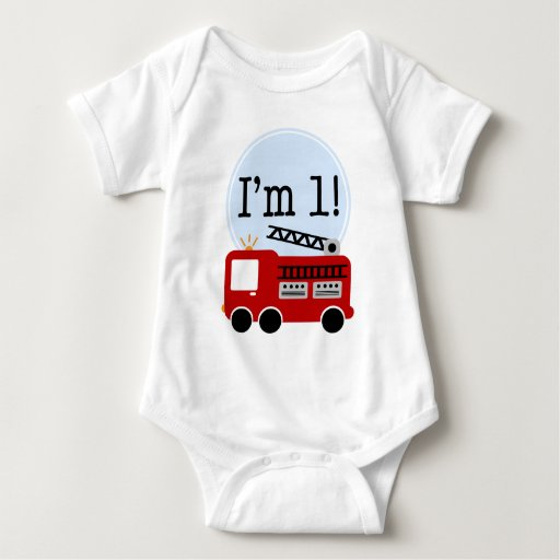 1st Birthday Fire Truck Baby Bodysuit