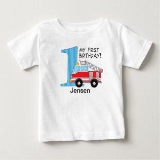 1st Birthday Fire Truck Blue/Red Tshirt