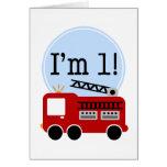 1st Birthday Fire Truck Card