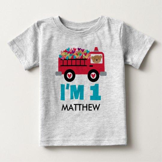 1st Birthday Fire Truck Fireman Custom T-shirt