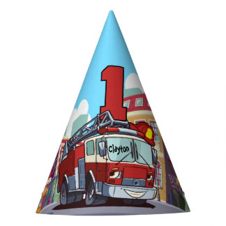 1st Birthday Fire Truck Party Hat