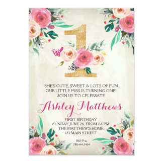 1ST birthday FIRST Beautiful Floral Invitation, 13 Cm X 18 Cm Invitation Card