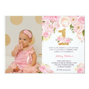 1st birthday invitations announcements zazzle uk 1st birthday first beautiful floral invitation card stopboris Choice Image