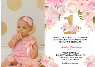 1ST Birthday FIRST Beautiful Floral Invitation