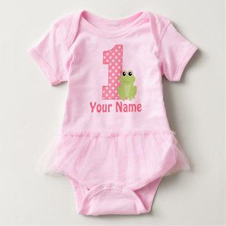 1st Birthday Frog Pink Personalized Baby Bodysuit