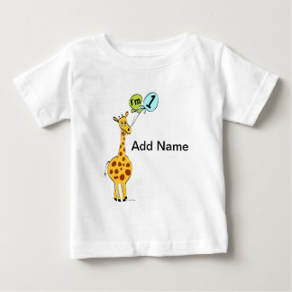 1st Birthday Giraffe with Balloons Baby T-Shirt