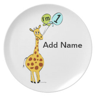 1st Birthday Giraffe with Balloons Plate