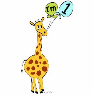 1st Birthday Giraffe with Balloons Standing Photo Sculpture