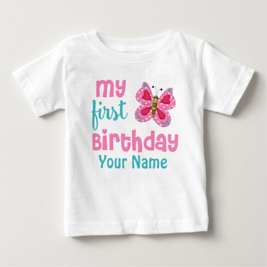 1st Birthday Girl Butterfly Pink Personalised Baby T-Shirt