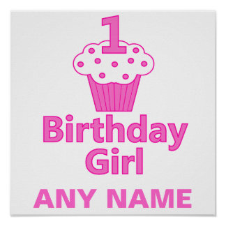 1st Birthday Girl Cupcake Design Poster