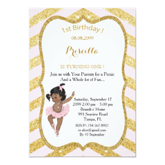 1st Birthday GIRL,Ethnic 1st Birthday,Ballerine Card