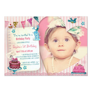 1st Birthday Girl Heart | Photo Party Invitation