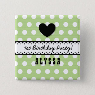 1st Birthday Girl Heart Scalloped Ribbon Green G5 15 Cm Square Badge
