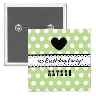 1st Birthday Girl Heart Scalloped Ribbon Green G5 15 Cm Square Badge