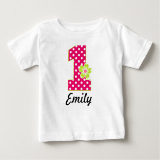 1st Birthday Girl Hot Pink & Green Dots Baby T-Shirt
