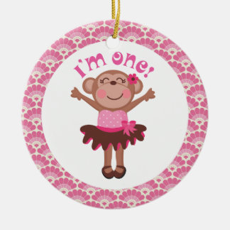 1st Birthday Girl Monkey Ornament Gift