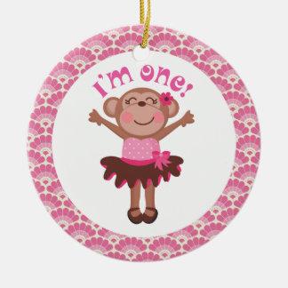 1st Birthday Girl Monkey Ornament Gift