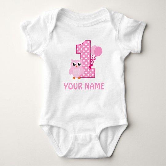 1st Birthday Girl Owl Personalised Shirt