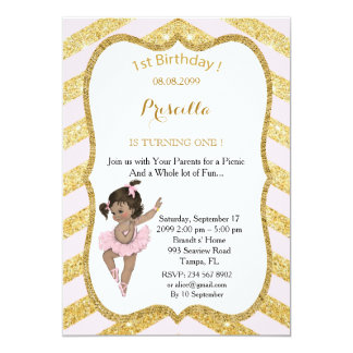 1st Birthday GIRL,Picnic 1st Birthday,Ballerine Card