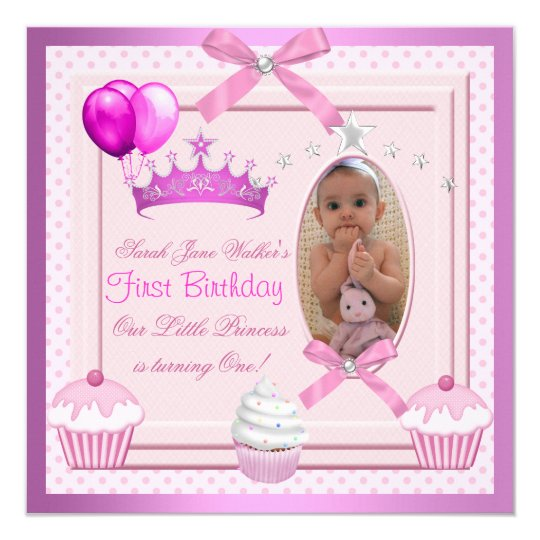 1st Birthday Girl Pink Cupcakes White Pearl Baby Card