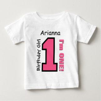 1st Birthday Girl PINK One Year Custom Name V007E T Shirt