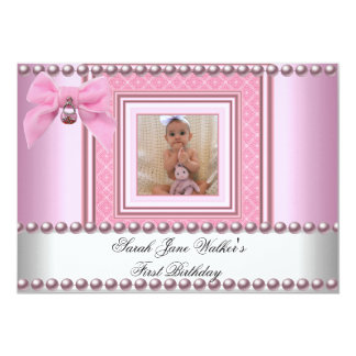 1st Birthday Girl Pink White Pearl Photo First Custom Invite