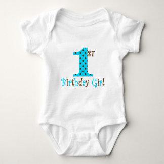 1st Birthday Girl Teal and Brown Polka Dot Baby Bodysuit