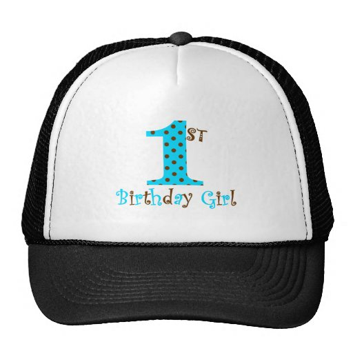 1st Birthday Girl Teal and Brown Polka Dot Hat
