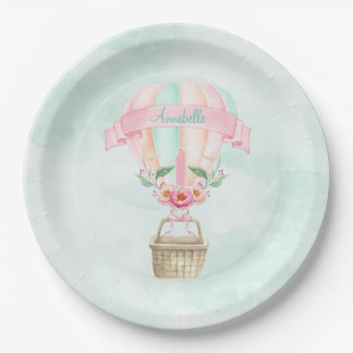 1st Birthday Hot Air Balloon Mint Pink Peach Paper Plate